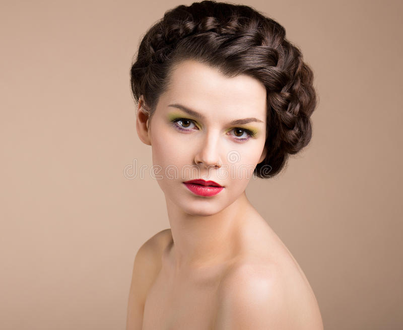 Woman with Brown Hair. Romance royalty free stock photo