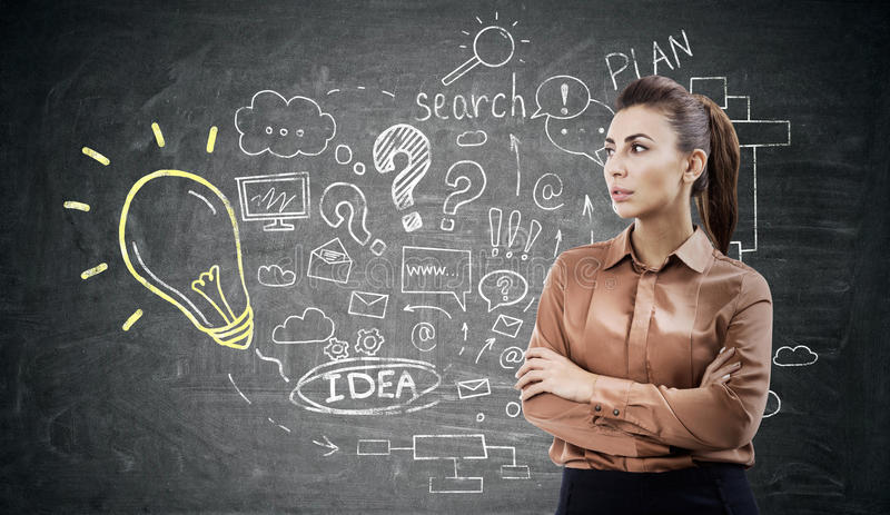Woman in brown and internet search sketch. Woman in a brown blouse is standing with her arms crossed near an internet search and light bulb sketches drawn on a stock photography
