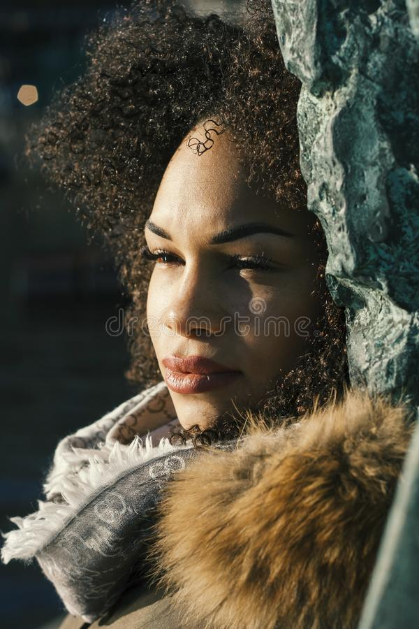 Woman in Brown Parka Jacket royalty free stock images