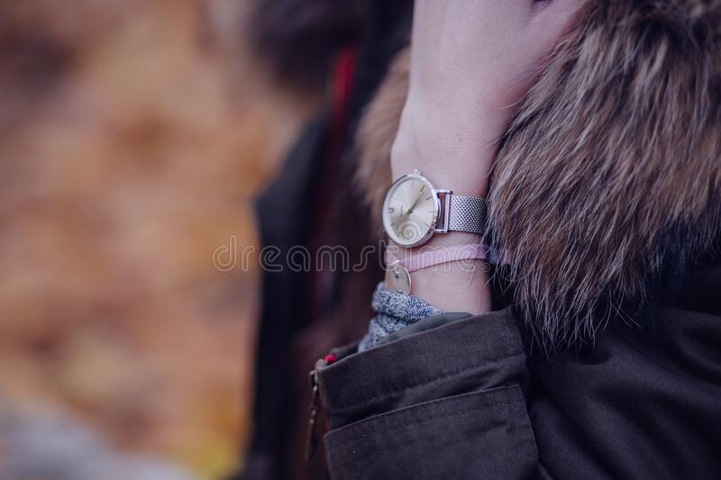 Woman In Brown Parka Jacket With Gold Round Analog Watch Free Public Domain Cc0 Image