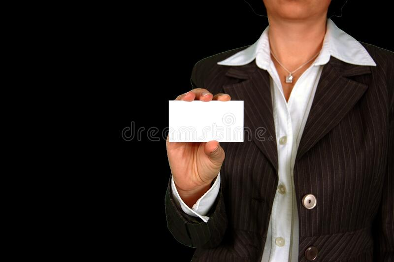 Woman in Brown Stripe Blazer Holding White Card stock image