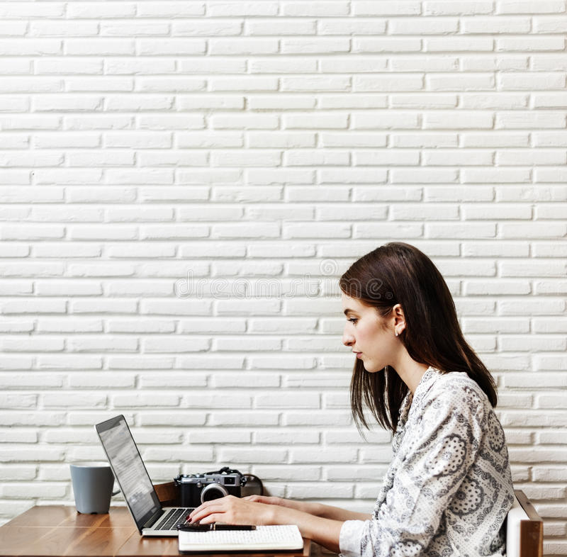 Woman Browsing Searching Working Typing Concept stock photo