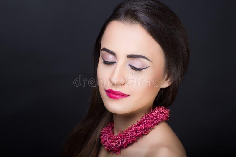 Woman brunette hair royalty free stock photos