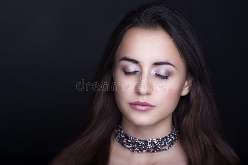 Woman brunette hair royalty free stock images