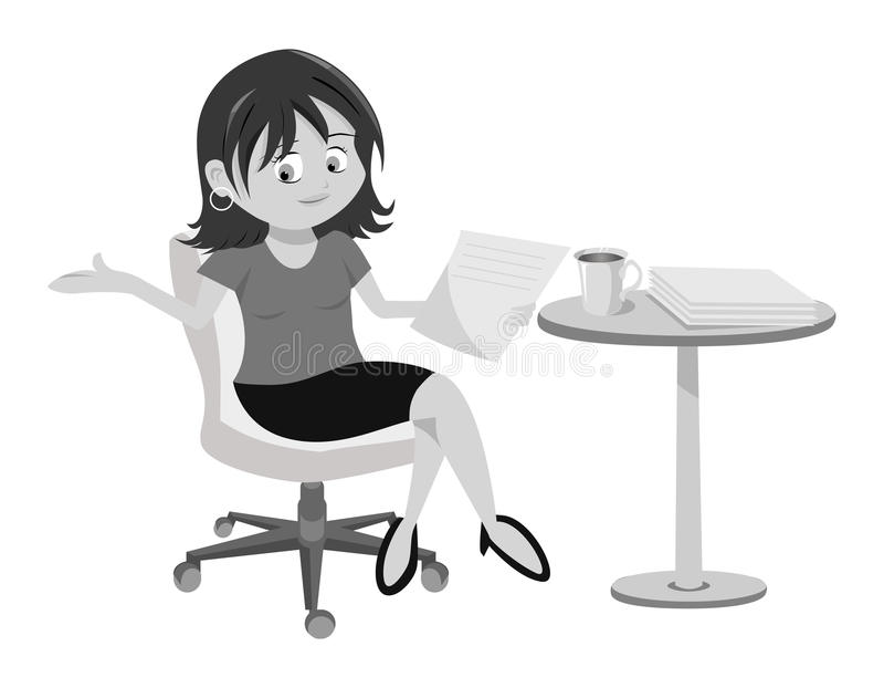 Download Woman Brunette Sitting Grayscale Stock Vector - Image: 21297576