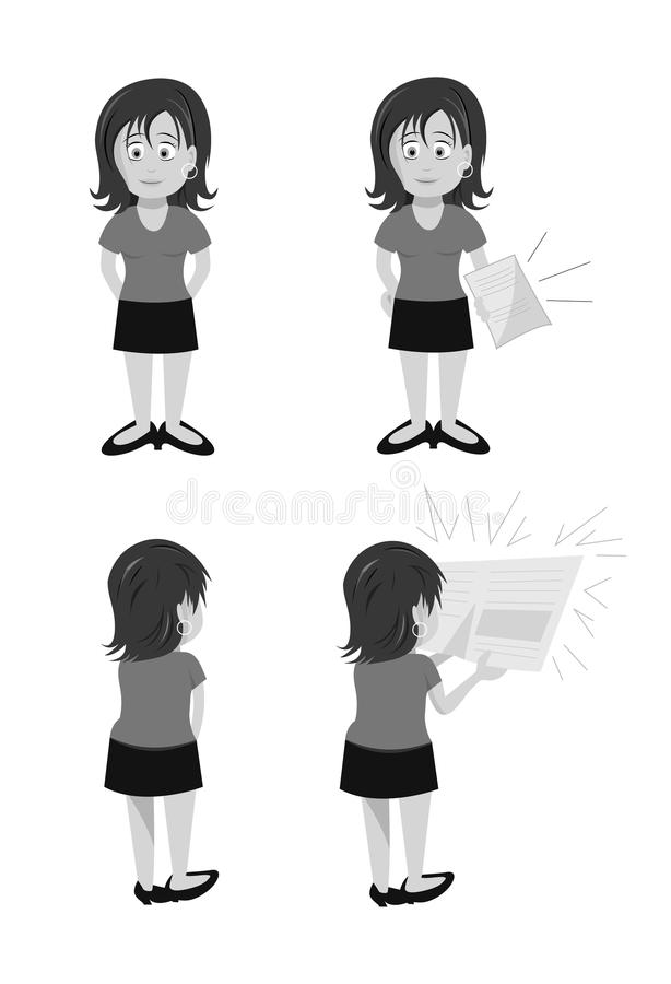 Woman Brunette Standing Chatting grayscale royalty free illustration
