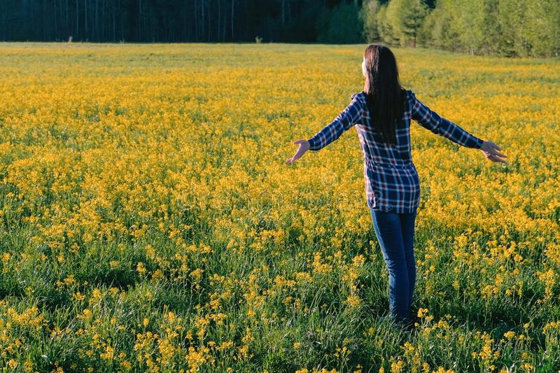Woman brunette walks on the field of yellow flowers. Stretches and breathes deeply. stock photos