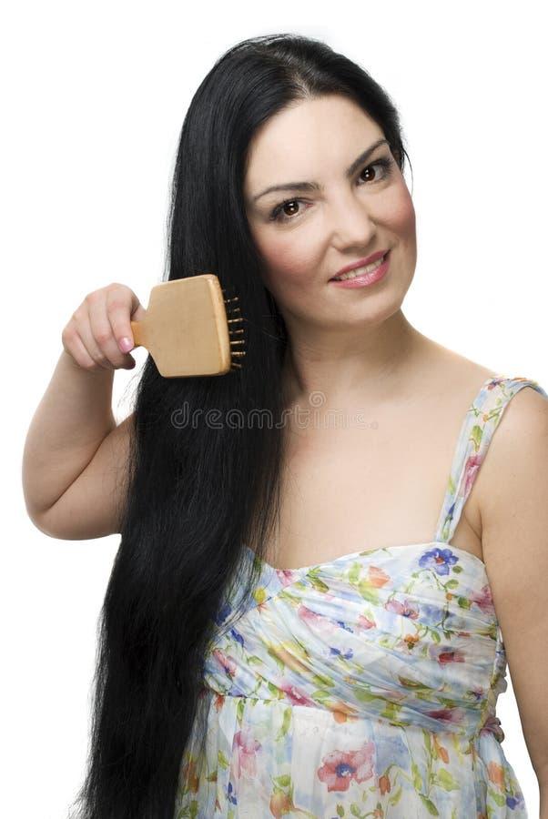 Download Woman Brushing Her  Long Black Hair Stock Image - Image of hair, elegance: 12728965