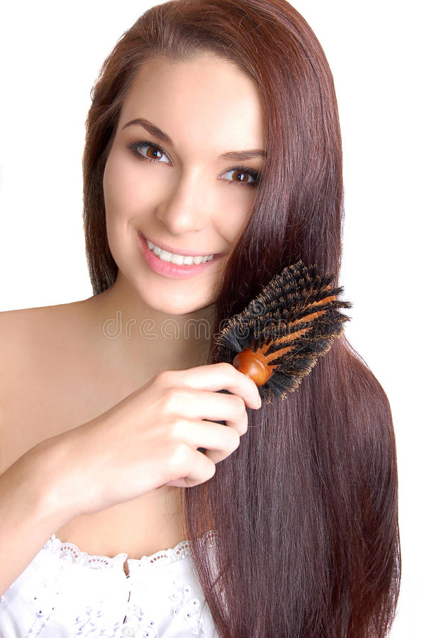 Download Woman Brushing Her Long Straight Hair Stock Image - Image of beauty, portrait: 16113693