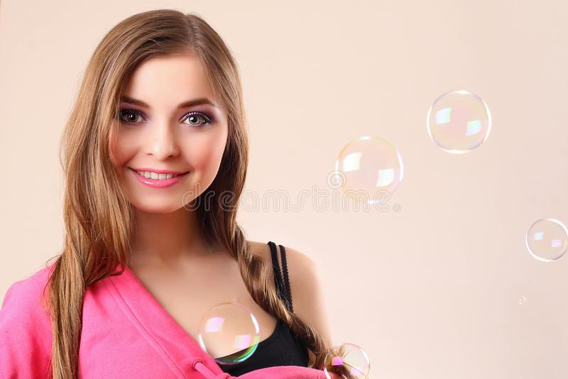 Download Woman with bubbles stock photo. Image of camera, makeup - 8751982