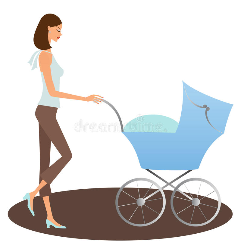 Woman With Buggy Royalty Free Stock Photography