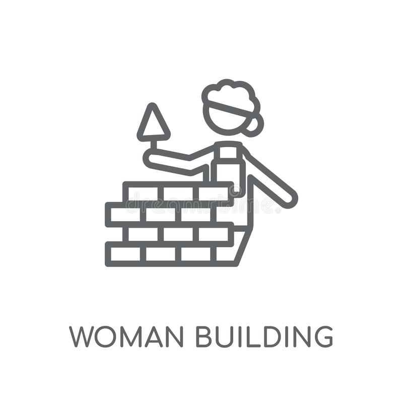 Woman Building a Wall linear icon. Modern outline Woman Building. A Wall logo concept on white background from Ladies collection. Suitable for use on web apps stock illustration
