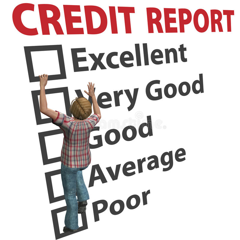 Woman builds up credit report score rating. A young 3D woman debt consumer works to build up her credit score rating report