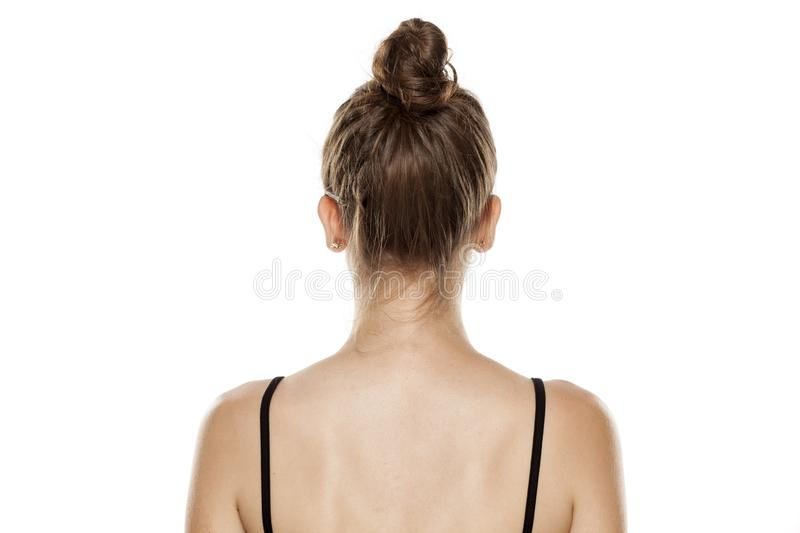 Woman with a bun stock photography