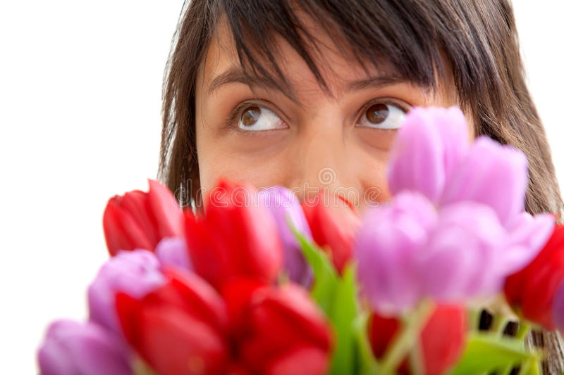 Woman with a bunch of flowers