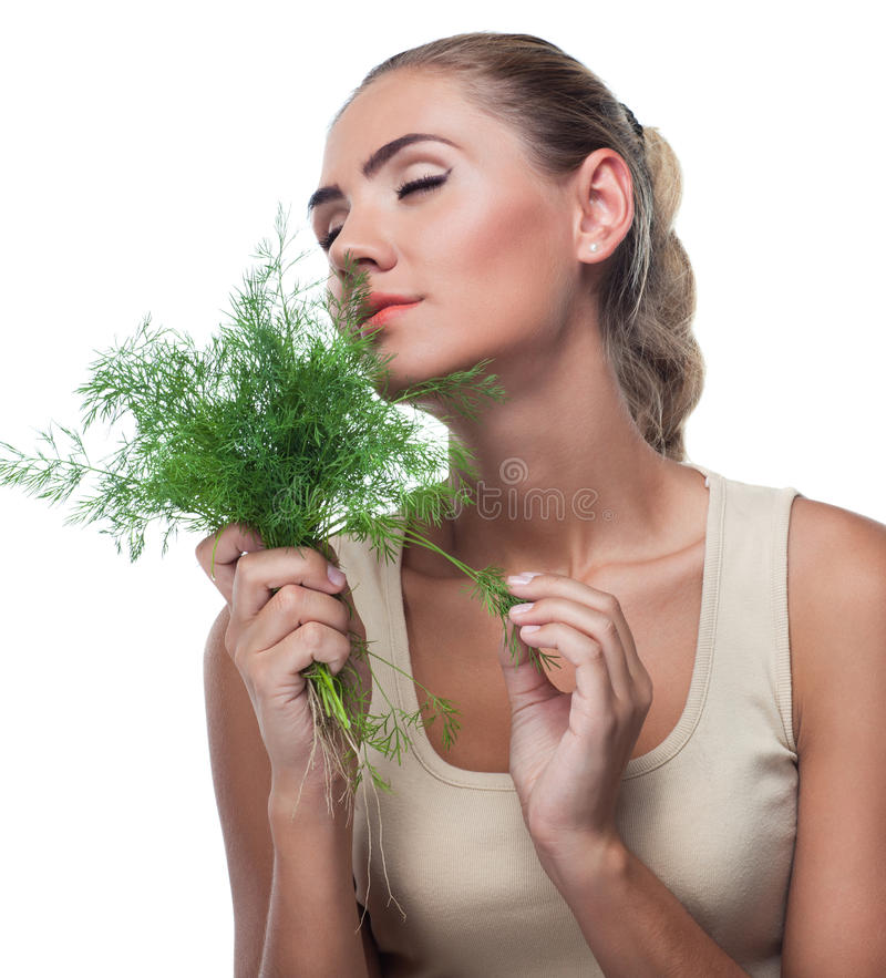 Woman with bundle herbs (dill) stock images