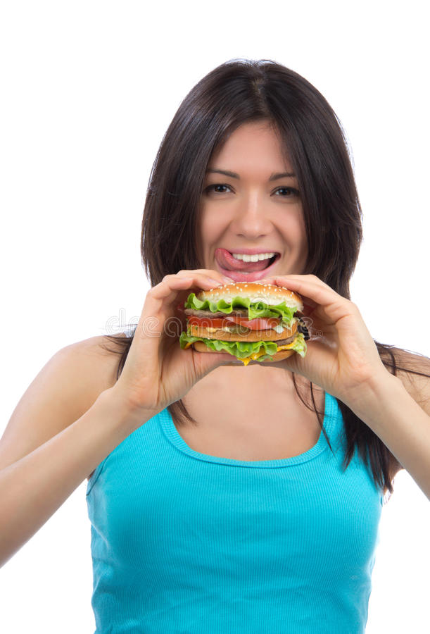 Download Woman With Burger In Hand Hungry Stock Photo - Image: 25162612