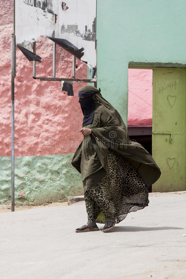 Woman in Burka in Harar royalty free stock images