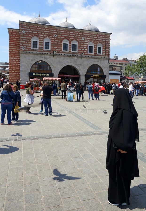 Woman in Burka in Istanbul, Turkey royalty free stock photography