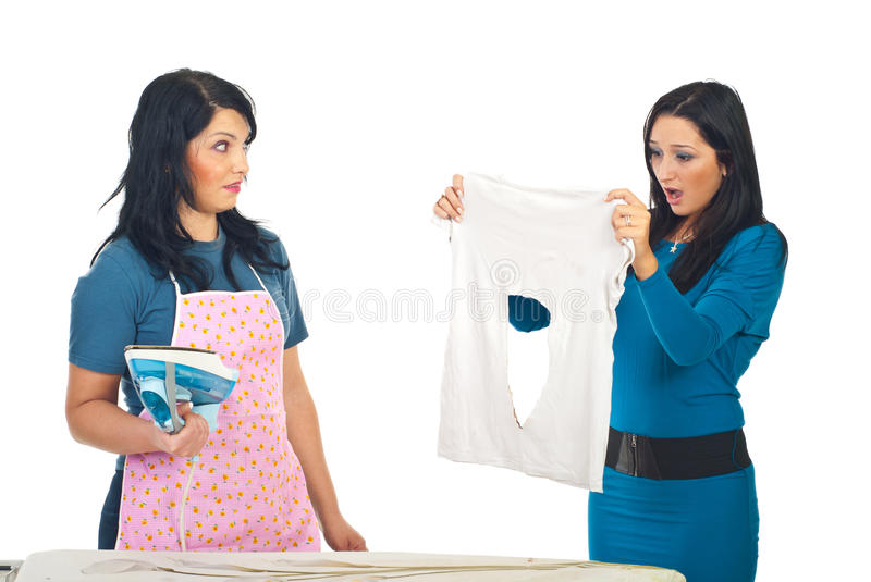 Woman burned her friend shirt stock photos