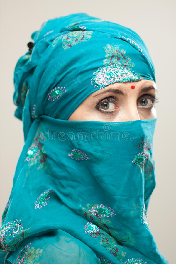 Download Woman In Burqa With Tilaka Royalty Free Stock Photography - Image: 21611987