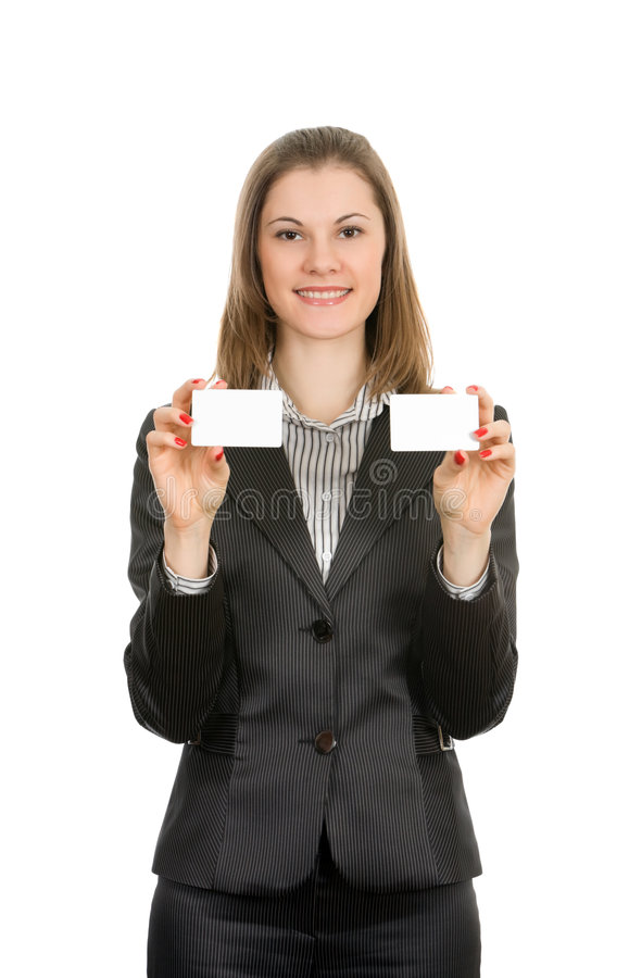 Woman with a business cards. Isolated on white stock images