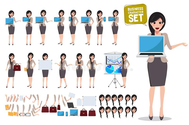Woman business character vector set. Female office person holding laptop. And showing screen with various pose and gestures for business presentation elements vector illustration