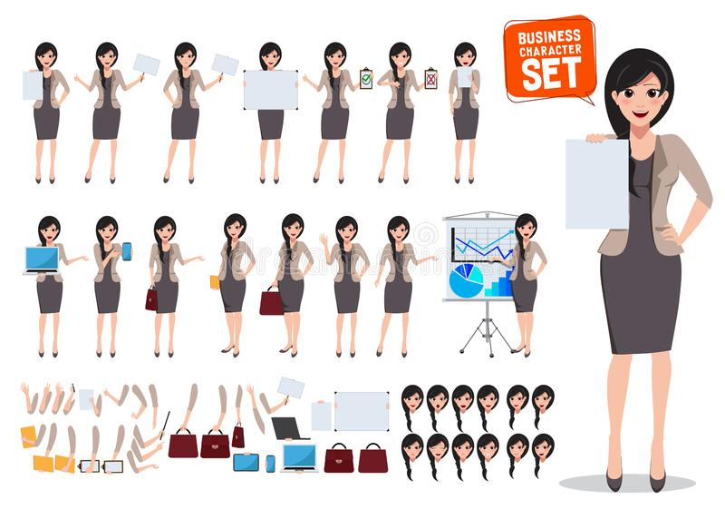Woman business character vector set. Female office worker holding blank empty white board vector illustration