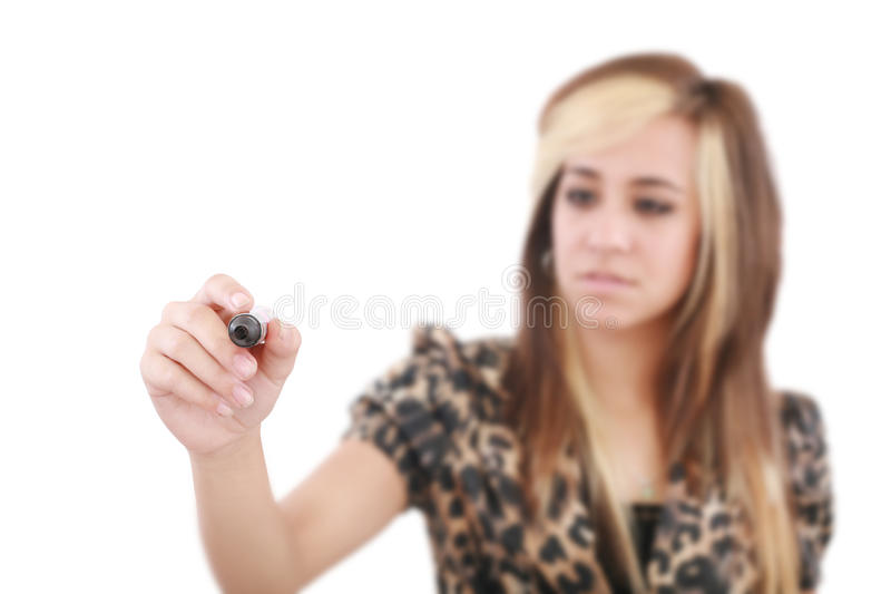 Woman business hand with pen mark royalty free stock photography