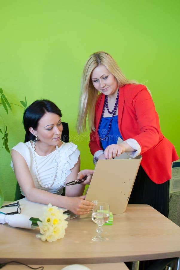 Woman business office folder secretary work team royalty free stock image