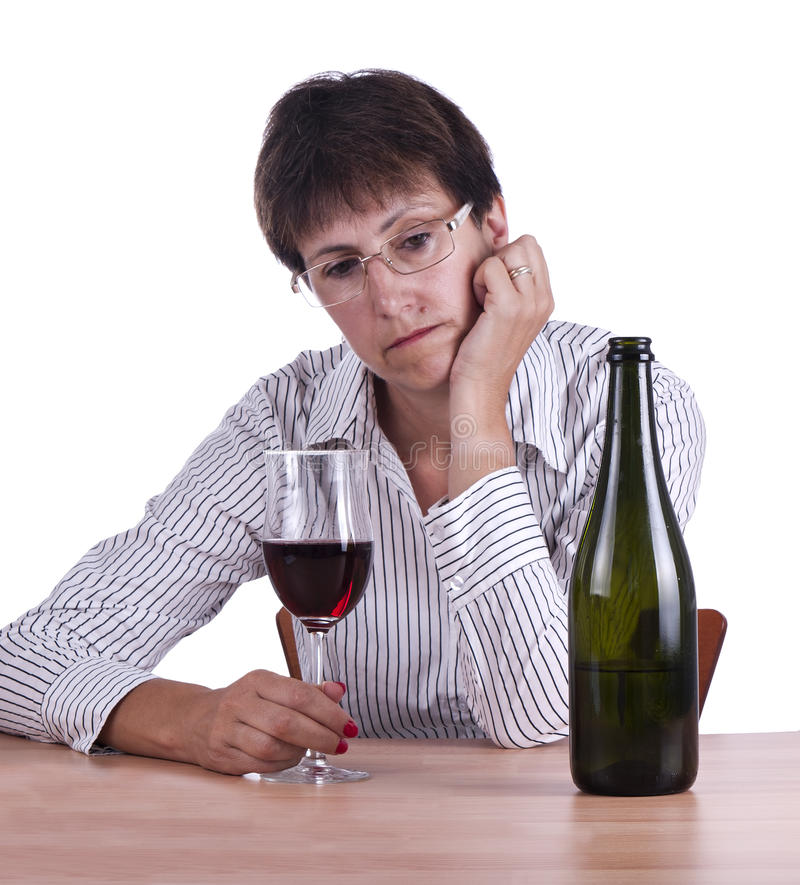 Download Woman In Business Shirt Drinking Red Wine Alone Stock Image - Image: 20872561