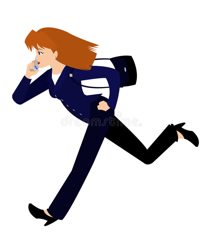 Woman in Business Suit Running vector illustration