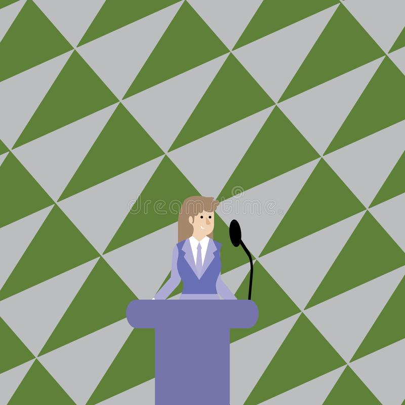 Woman in Business Suit Standing Behind Colorful Podium Rostrum photo and Speaking on Wireless Microphone. Businesswoman royalty free illustration