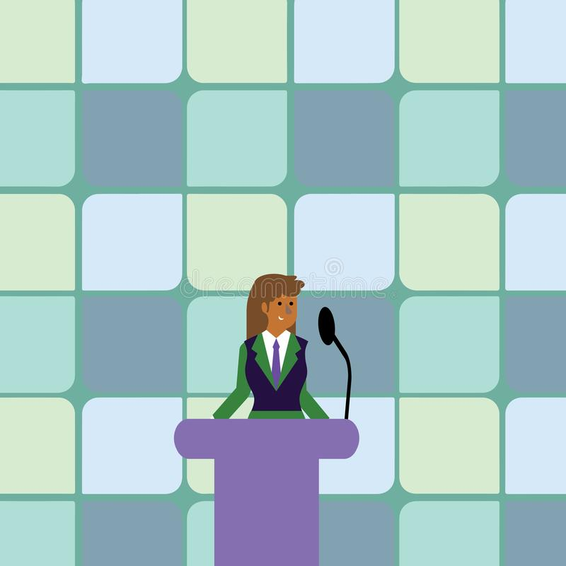 Woman in Business Suit Standing Behind Colorful Podium Rostrum photo and Speaking on Wireless Microphone. Businesswoman. Businesswoman Standing Behind Podium royalty free illustration