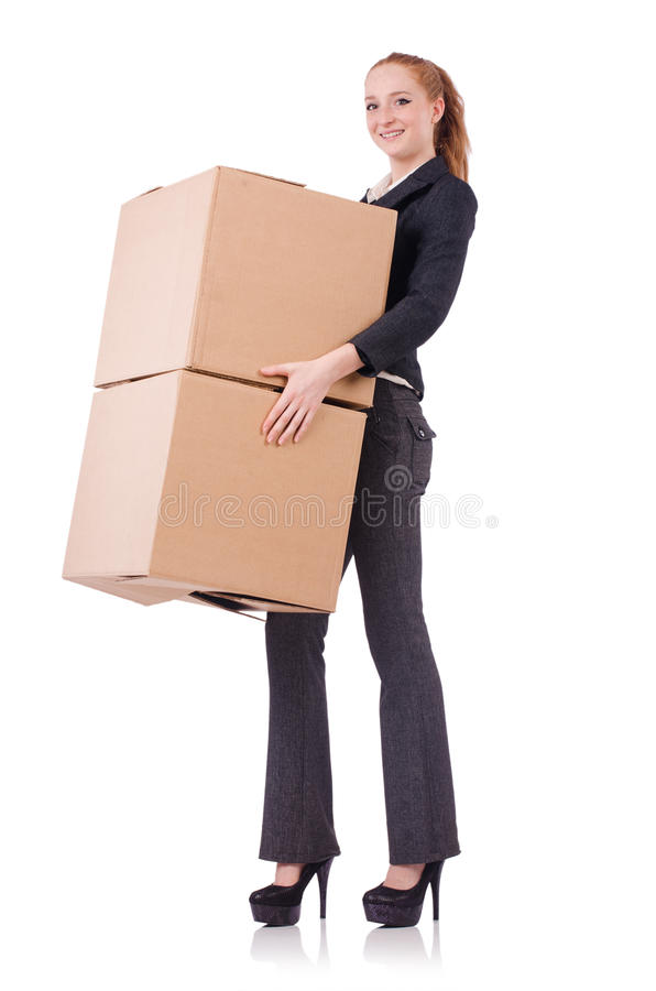 Download Woman businesswoman stock image. Image of cardboard, delivery - 36978247