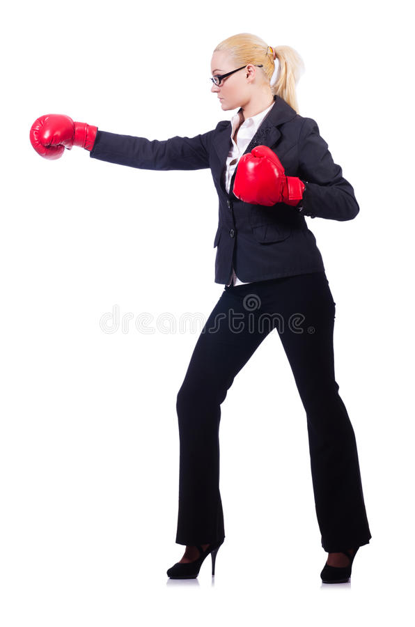 Download Woman Businesswoman With Boxing Gloves Royalty Free Stock Photography - Image: 30591217