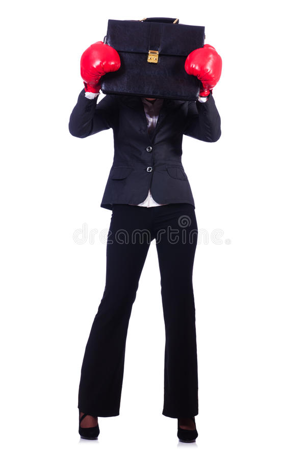 Download Woman Businesswoman With Boxing Gloves Stock Image - Image: 30591219