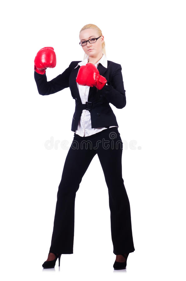 Download Woman Businesswoman With Boxing Gloves Stock Images - Image: 30835174