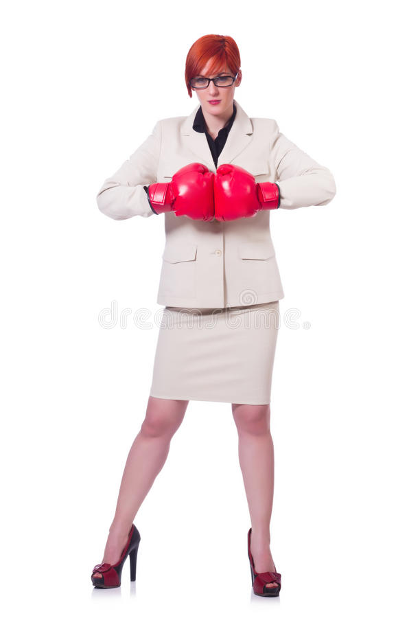 Download Woman Businesswoman With Boxing Gloves Stock Photos - Image: 30835463