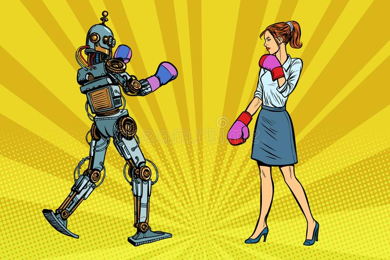 Woman businesswoman Boxing with a robot. Pop art retro vector illustration kitsch vintage vector illustration