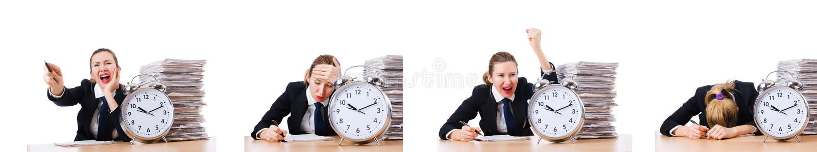 Woman businesswoman with giant alarm clock. The woman businesswoman with giant alarm clock stock photo