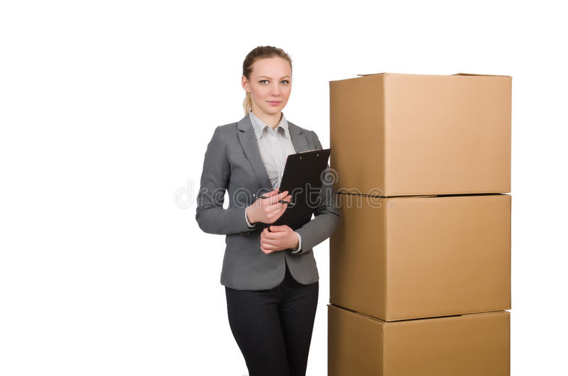 Download Woman businesswoman stock image. Image of moving, carton - 42202867