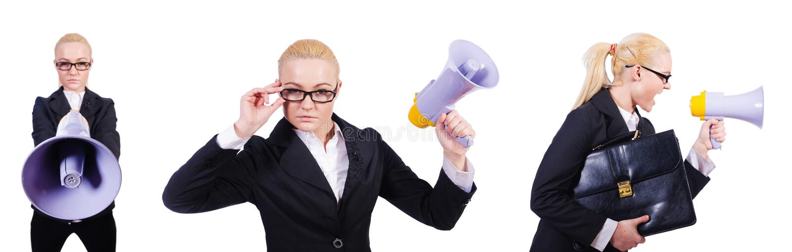The woman businesswoman with loudspeaker on white. Woman businesswoman with loudspeaker on white royalty free stock photos