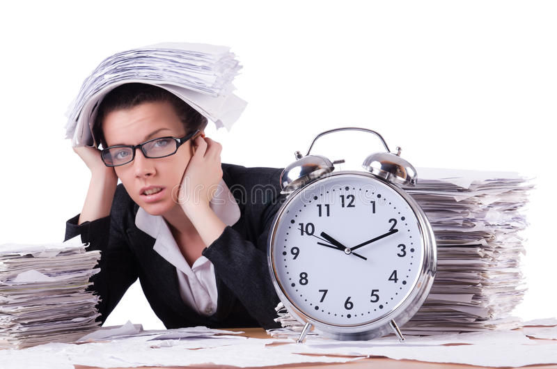 Woman businesswoman under stress missing. Her deadlines royalty free stock photography