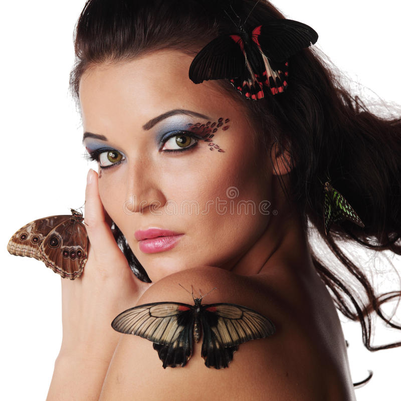 Download Woman And Butterfly Royalty Free Stock Images - Image: 21525809