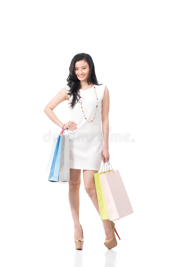 Woman buyer. Portrait of woman buyer smiling at camera stock image
