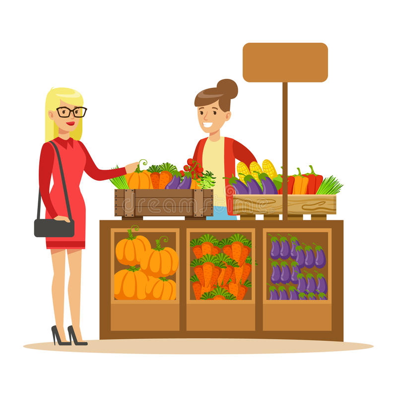 Woman Buying Fresh Vegetables From Farmer Working At The Farm And Selling On Natural Organic Product Market royalty free illustration