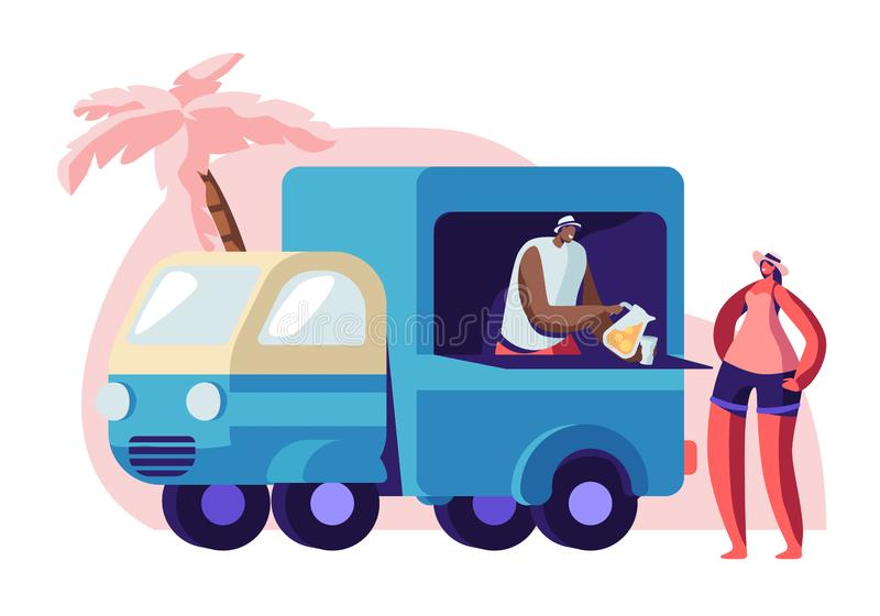Woman Buying Juice on City Beach at Lorry Booth. Seller Pour Drink at Glass to Female Tourist Character. Summer Time Vacation, Travel, Girl Relaxing in Exotic vector illustration