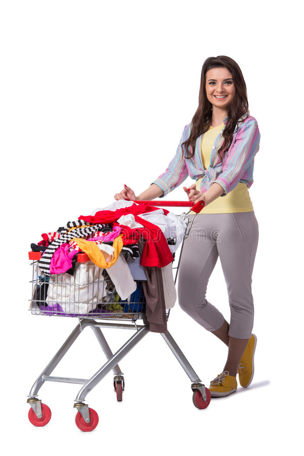 The woman after buying second hand clothing on white. Woman after buying second hand clothing on white royalty free stock photos