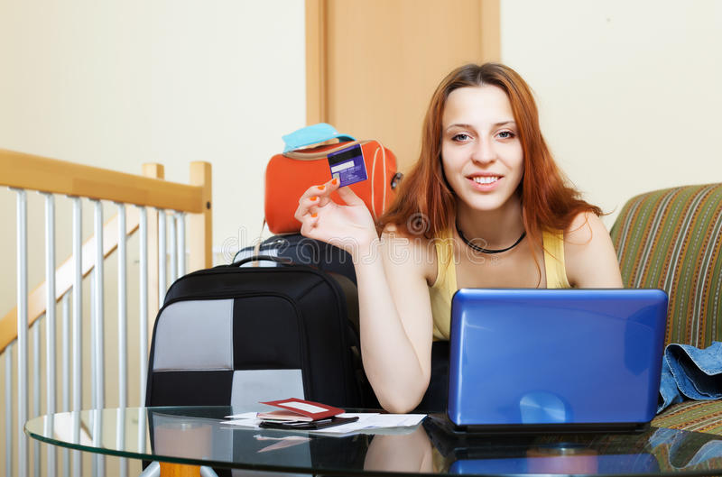 Woman Buying Tickets  Online Stock Photo